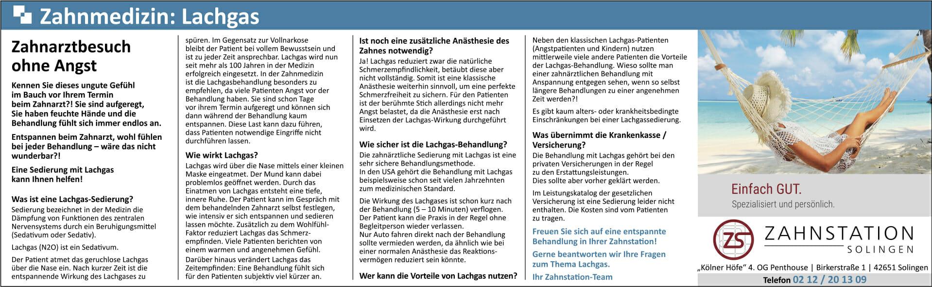 Lachgas - 7. Teil unserer Fachartikelreihe im Solinger Tageblatt ...